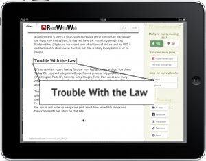 Zite showing a RRW story about the cease-and-desist letter to Zite